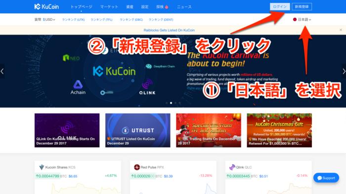 kucoinトップページ