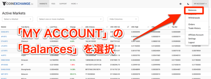 CoinExchange-資産画面